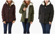 Madden Girl Women's Parachute Puffer with Faux-Sherpa Hood
