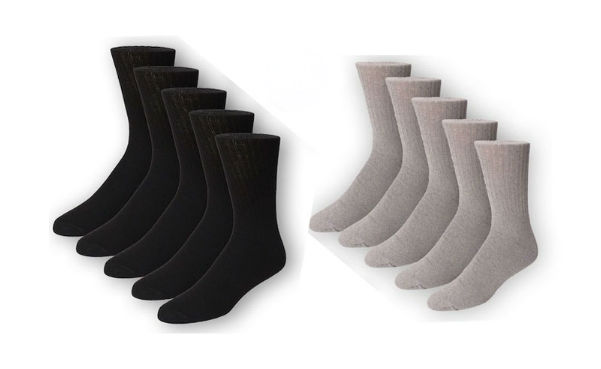 Men's JobSite Black & Grey Crew Socks