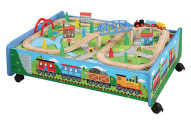 62 piece Wooden Train Set with Train Table