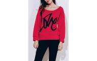 Stylish Scoop Collar LOVE Sweatshirt