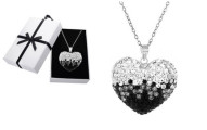 Black and White Sterling Silver Bubble Heart Necklace made with Swarovski Crystal by Mina Bloom