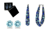 Blue Swarovski Crystal Inside Out Hoops by Mina Bloom