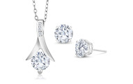 2.50 Ct Moissanite Necklace and Earrings Set