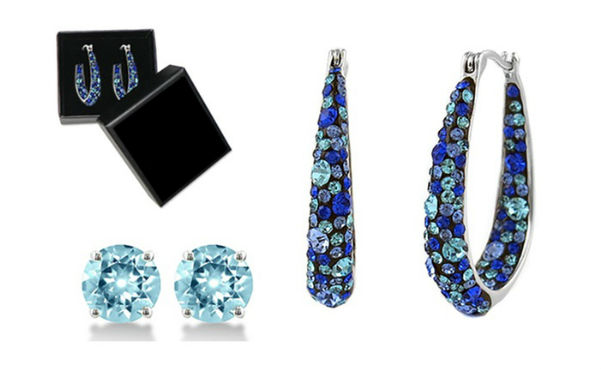 Blue Swarovski Crystal Inside Out Hoops in 18K White Gold-Plating by Mina Bloom