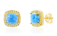 Nina & Grace Blue Opal Square Studs