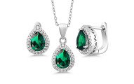 6.50 Ct Pear Shape Emerald Pendant Earrings Set