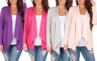 Women's Draped Open-Front Cardigan (4-Pack)