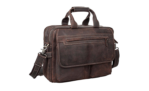S-ZONE Crazy Horse Leather Shoulder Briefcase