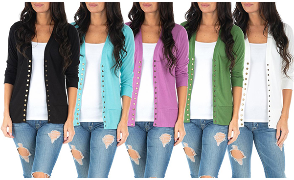 Women's Sleeve Button-Down Cardigan