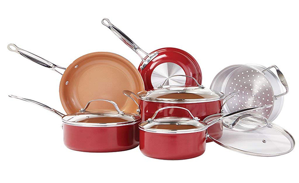 BulbHead 10 PC Copper-Infused Ceramic Cookware Set