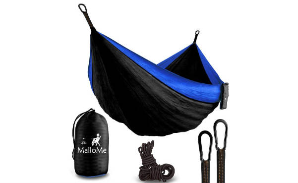 Double portable camping hammock and straps mallome