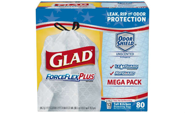 Glad ForceFlexPlus Tall Kitchen Drawstring Trash Bags