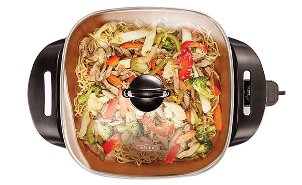 BELLA Electric Skillet with Tempered Glass Lid