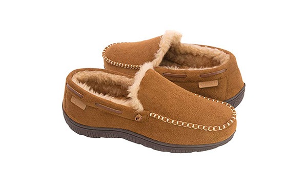 Zigzagger Men's Wool Microsuede Moccasin Slippers