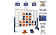 Giant 4 in A Row 4 to Score - Premium Wooden Four Connect Game Set in White or Wood Grain and 3 Size Options