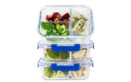 3 Compartment Glass Meal Prep Containers, 3 Pack