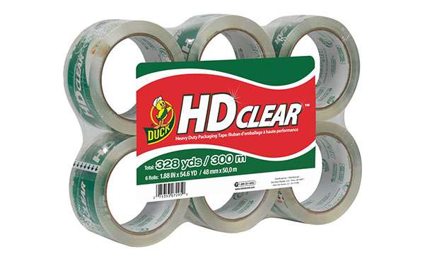 Duck HD Clear Heavy Duty Packaging Tape Refill, 6 Rolls