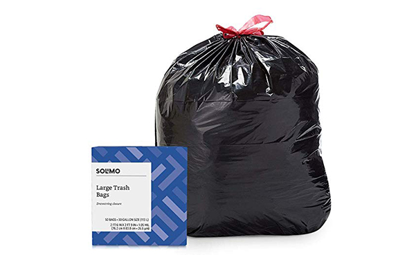 Solimo Multipurpose Large Drawstring Trash Bags, 50 Count