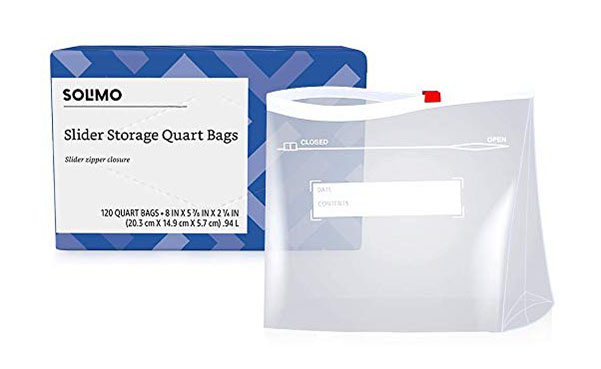 Solimo Slider Quart Food Storage Bags, 120 Count