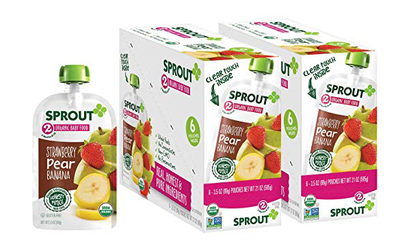 Sprout Organic Stage 2 Baby Food Pouches, Pack of 12