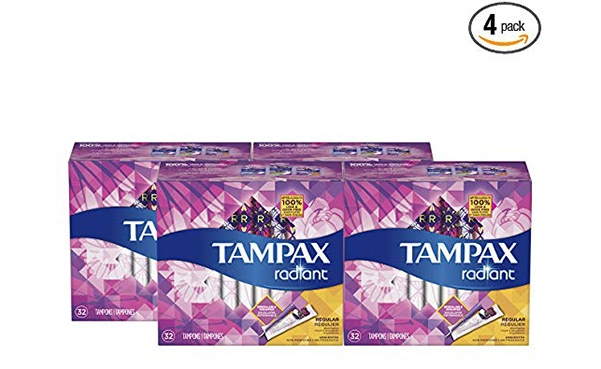 Tampax Radiant Tampons, Pack of 4