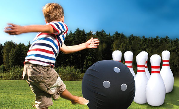 Giant Inflatable Bowling Set with Bonus Pump
