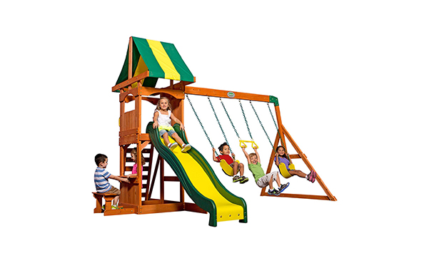 Backyard Discovery Cedar Wood Playset Swing Set