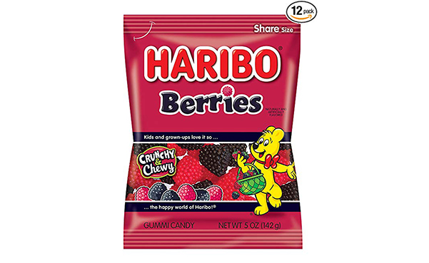 Haribo Gummi Candy, Berries, Pack of 12