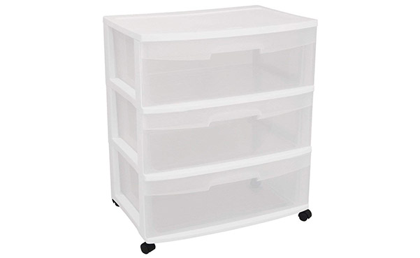 Sterilite Wide 3 Clear Drawer Cart