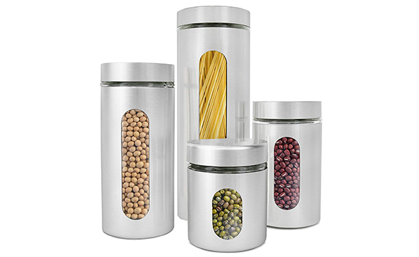 Estilo Brushed Stainless Steel and Glass Canisters Set