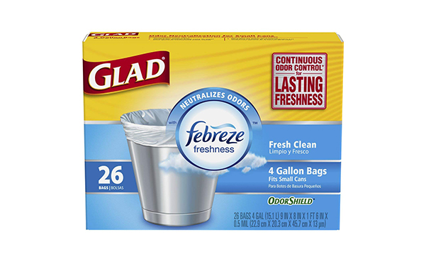 Glad Small Trash Bags OdorShield 4 Gallon - Pack of 6