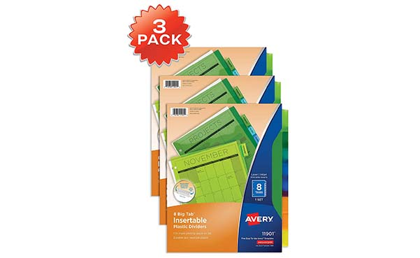 Avery 8-Tab Plastic Binder Dividers, 3 Sets