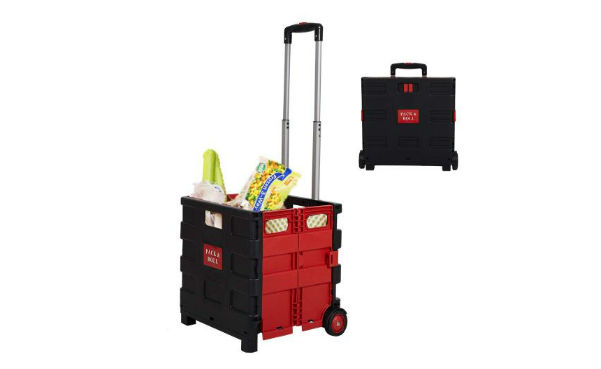 Pack N' Roll Folding Rolling Trolley Crate