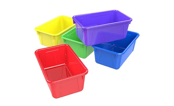 Storex Cubby Bin Plastic Storage Container, Pack of 5