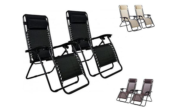 Patio Lounge Chairs with Headrest, 2 Count