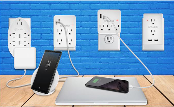 Aduro Outlet Surge Protector with Dual USB Ports