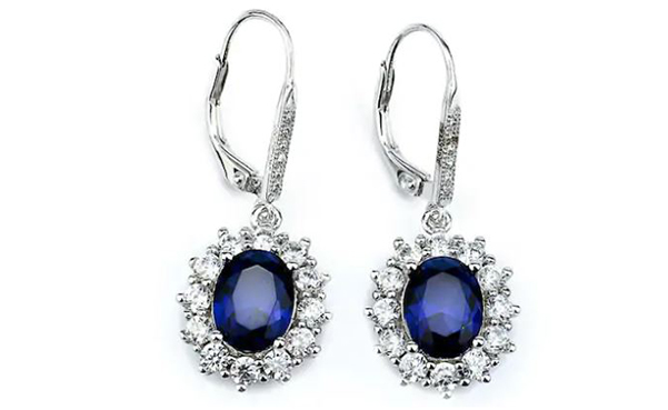 Sapphire Halo Leverback Earrings