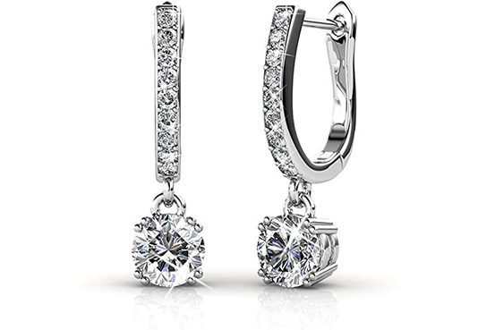 Drop Horseshoe Earrings with Swarovski Solitaire Crystals Dangle