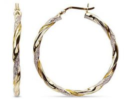 LeCalla Sterling Silver Two Tone Light Weight Hoop Earrings