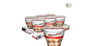 Biscolata Mood Cookies with Chocolate Filling Snacks - 6 Cups, Crispy Cookie Shell Filled with Milk Chocolate