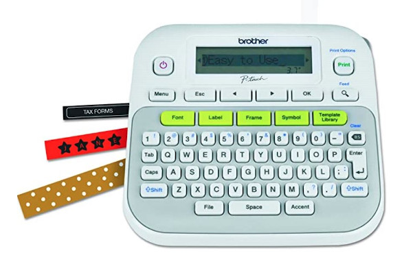 Brother P-touch, PTD210, Easy-to-Use Label Maker, One-Touch Keys, Multiple Font Styles, 27 User-Friendly Templates, White